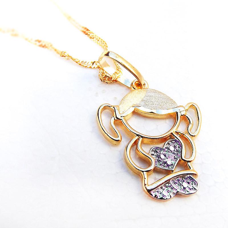 1e0e9e7f3d5d6 Pingente de Ouro Boneca Menina com Pedras Zircônia