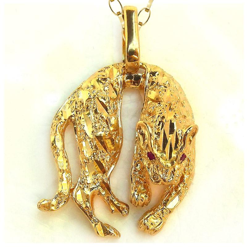 483a2e3db5c50 Pingente de Ouro Pantera com olhos de rubi